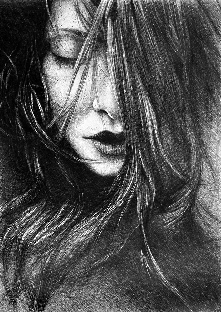 Like A Storm, 2017, 50-70cm, graphite crayon on paper